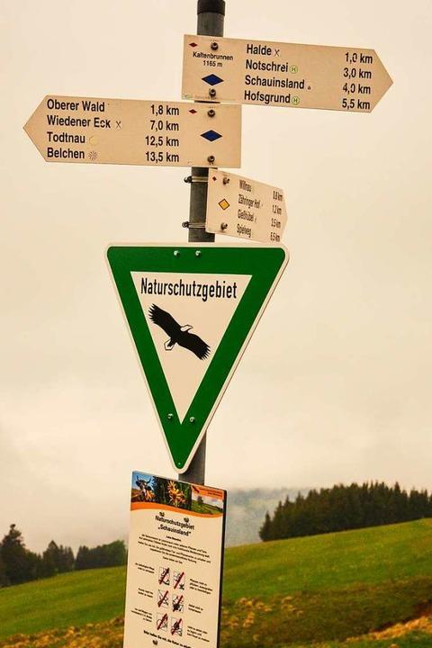 Auch bei schlechtem Wetter helfen Hinweise, den richtigen Weg zu finden.  | Foto: Gabriele Hennicke