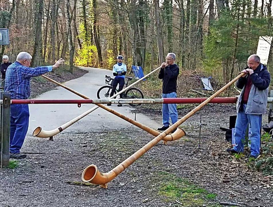 Ein schweizerisch-deutsches Alphorntrio probt am Grenzbaum.  | Foto: privat
