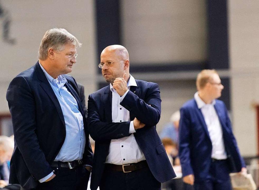 Jörg Meuthen und Andreas Kalbitz im Januar 2019 im sächsischen Riesa.  | Foto: Monika Skolimowska