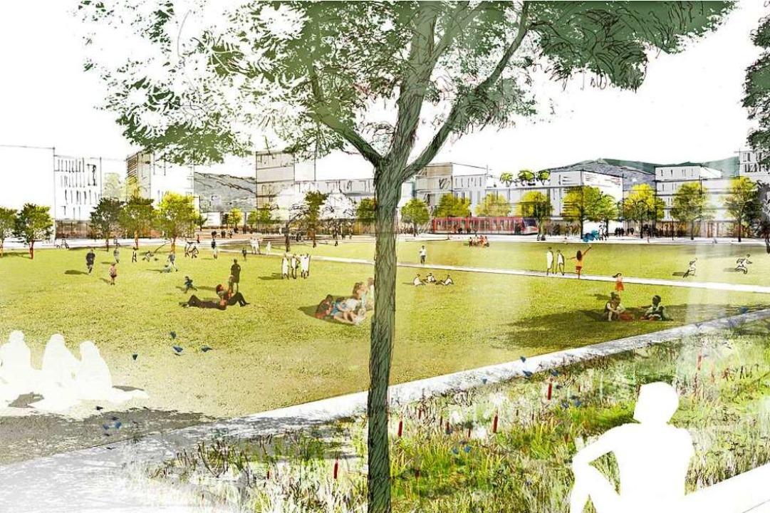 Drei Grünspangen sollen sich durch Die...ten Stadtteilpark an der Käsebachaue.   | Foto: K9 Architekten