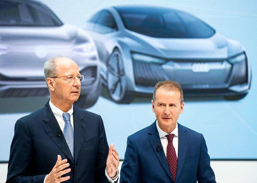 Herbert Diess (r) und Hans Dieter Pötsch  | Foto: Hauke-Christian Dittrich (dpa)