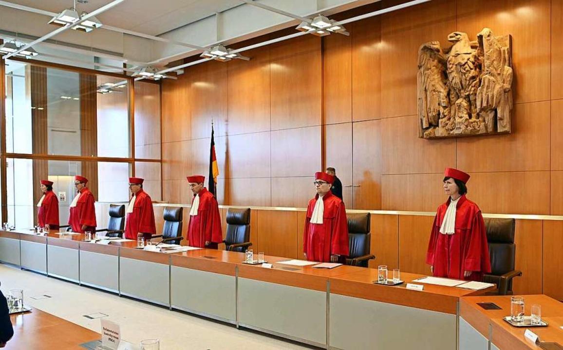 Der Erste Senats des Bundesverfassungs...wachungsbefugnisse des BND im Ausland.  | Foto: Uli Deck (dpa)