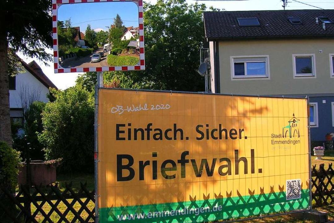 Auch in den Ortschaften – hier i...8211; wird für die Briefwahl geworben.  | Foto: Sylvia-Karina Jahn