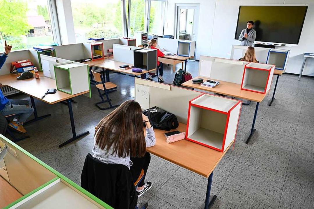Schule unter Corona-Bedingungen  | Foto: Felix Kästle (dpa)