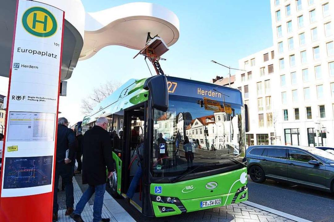 Die neuen Elektrobusse der VAG haben s... Elektro-Flotte ausbauen (Archivbild).  | Foto: Rita Eggstein