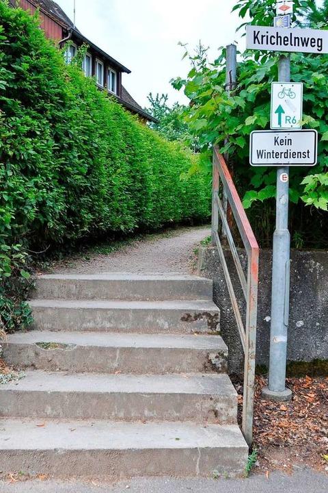 Ein offizieller Radweg mit Stufen    Foto: Rainer Ruther