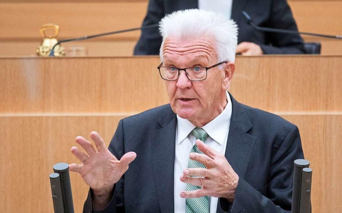Ministerpräsident Winfried Kretschmann am Mittwoch im Landtag  | Foto: Marijan Murat (dpa)