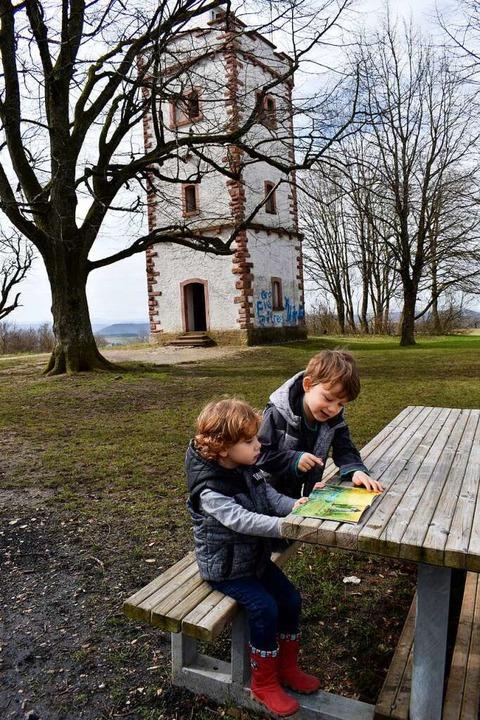 Ausflug auf die  Hohe Flum: Jakob und Jonas sind Märchenfans.  | Foto: Leony Stabla