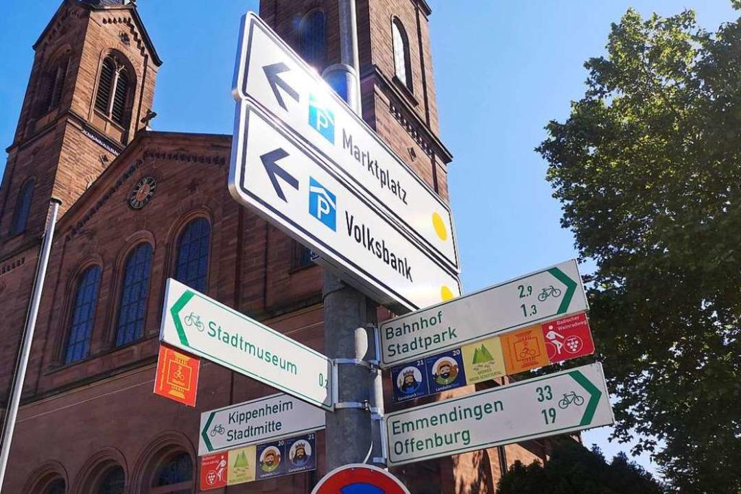 Radwegweiser nach Emmedingen: Gibt es ...chnellverbindung zwischen den Städten?  | Foto: Stadt Lahr