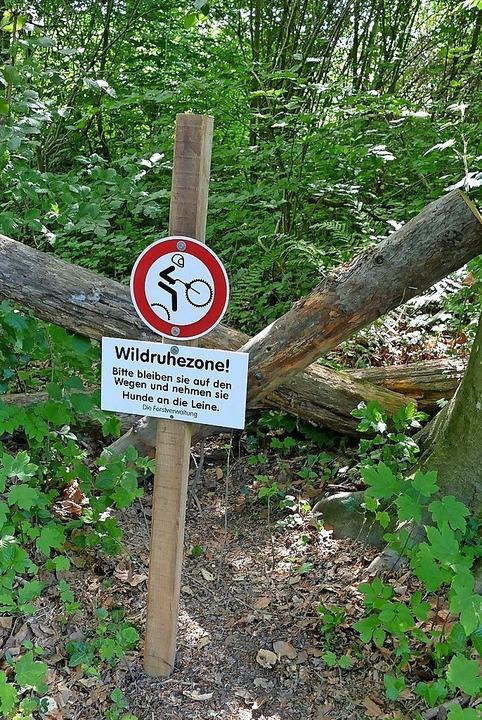 Mit Barrikaden und Hinweisschildern is...Mountainbikestrecke abgesperrt worden.  | Foto: Ulrich Senf
