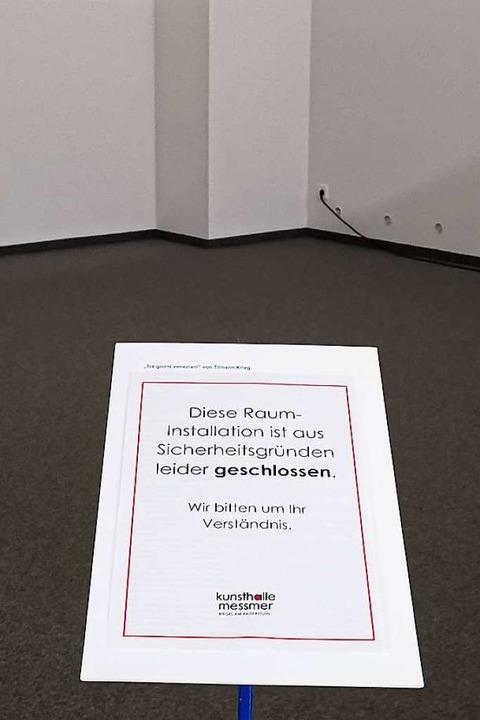 In der Kunsthalle Messmer in Riegel is...in Hinweisschild an die Abstandsregel.  | Foto: Patrik Müller