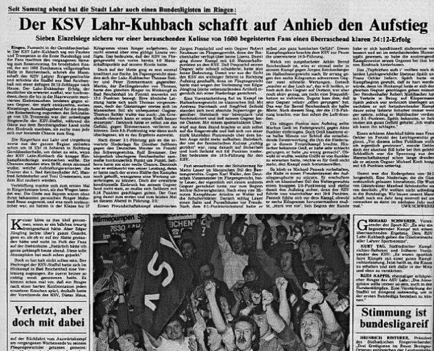 So berichtete die BZ in der Ausgabe vom 12. Januar 1987 über den Aufstieg.    Foto: BZ Archiv