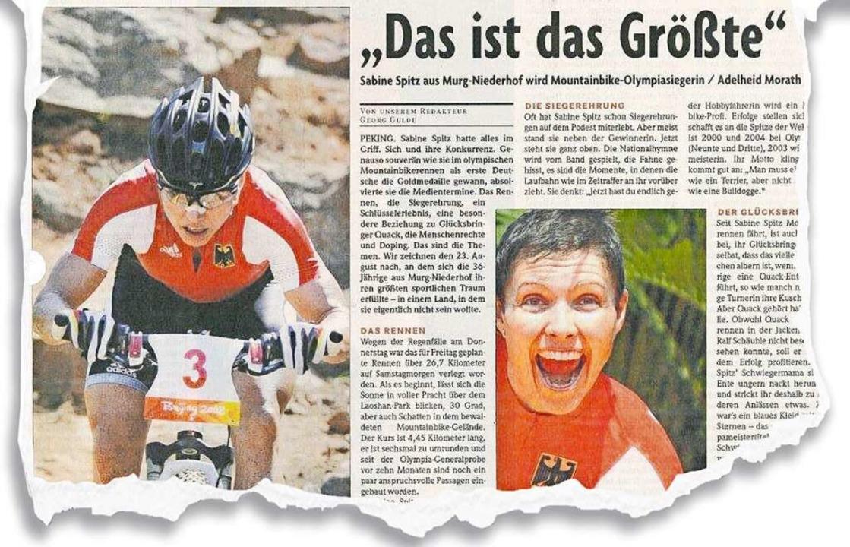 Sabine Spitz und ihr Olympiasieg, über den die BZ am 25. August 2008 berichtete.  | Foto: BZ