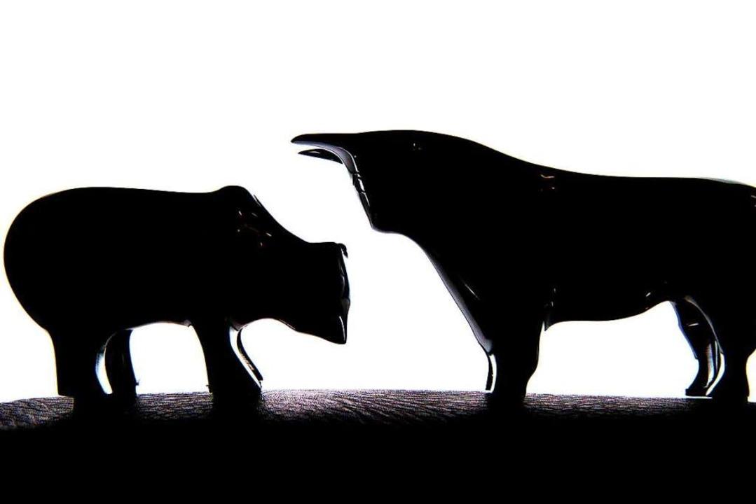 Der Bär steht für fallende Börsenkurse, der Bulle für steigende.   | Foto: Andrea Warnecke