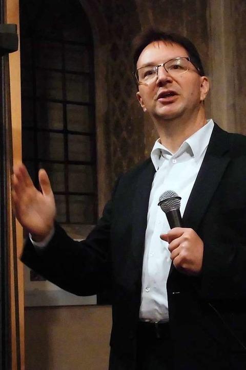 Michael Blume bei einem Vortrag in er ...Synagoge Kippenheim im September 2019.  | Foto: Dierk Knechtel