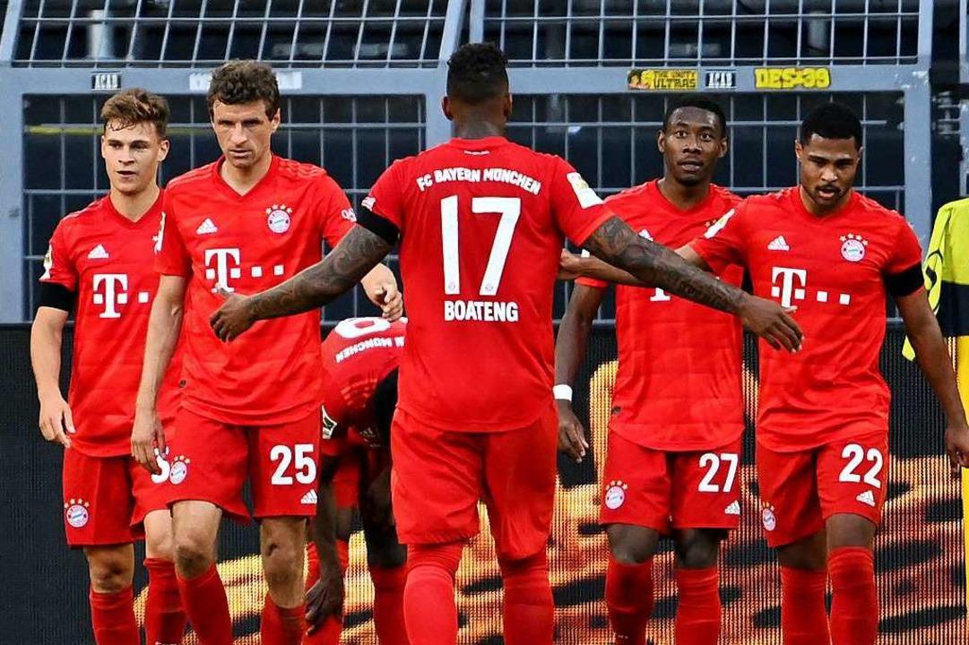 Mit 1:0 kann sich der FC Bayern bei Bo...ffer des Tages erzielt Joshua Kimmich.  | Foto: Federico Gambarini (dpa)