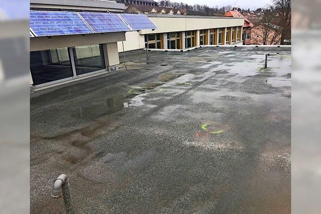 Flachdach der Schule ist undicht