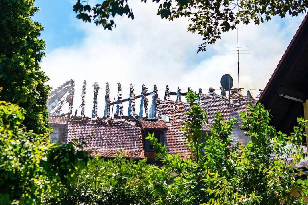 Der abgebrannte Dachstuhl  | Foto: Olaf Michel