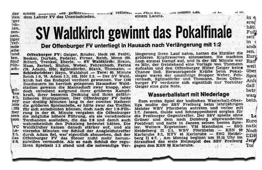 Der Bericht zum Pokalfinale in der Badischen Zeitung vom 29. Mai 1972  | Foto: Repro