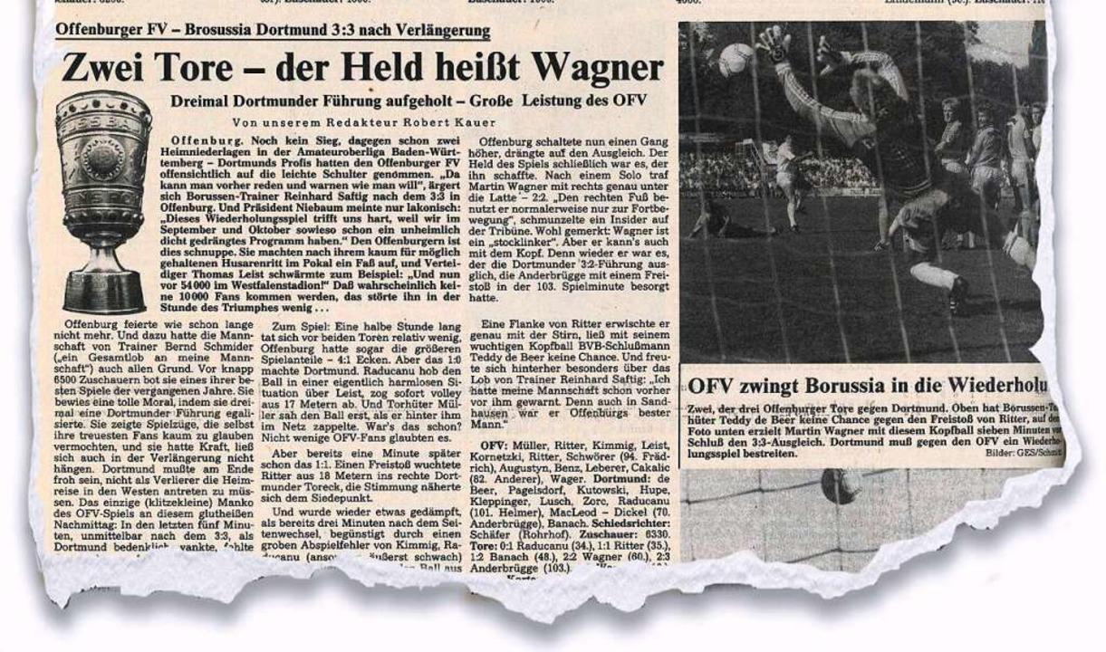 Als die Offenburger über sich hinauswu... Badischen Zeitung vom 31. August 1987  | Foto: BZ-Archiv