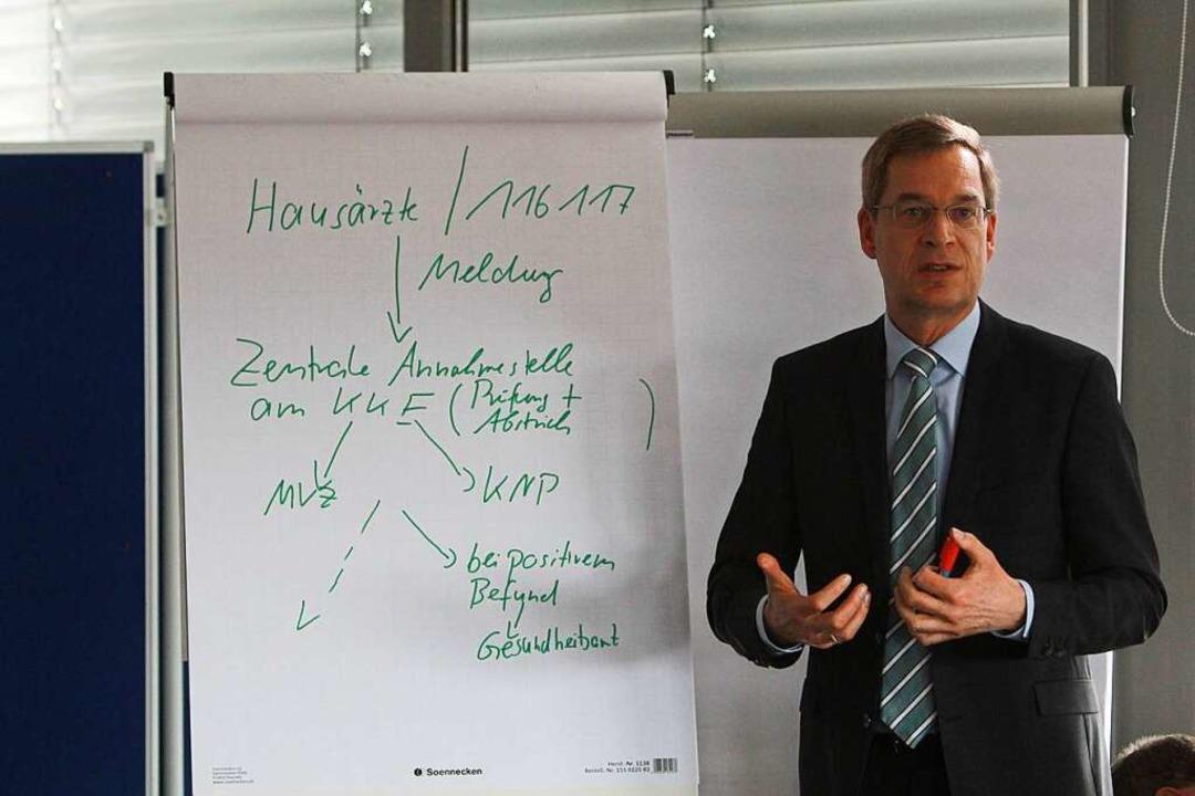 Landrat Hanno Hurth stellt sich bei de...fang März den Fragen von Journalisten.  | Foto: Patrik Müller