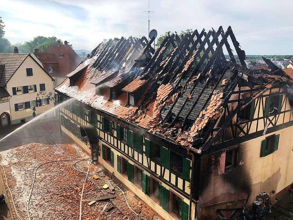 Das durch das Feuer zerstörte ehemalige Gasthaus Löwen    Foto: Feuerwehr Mahlberg