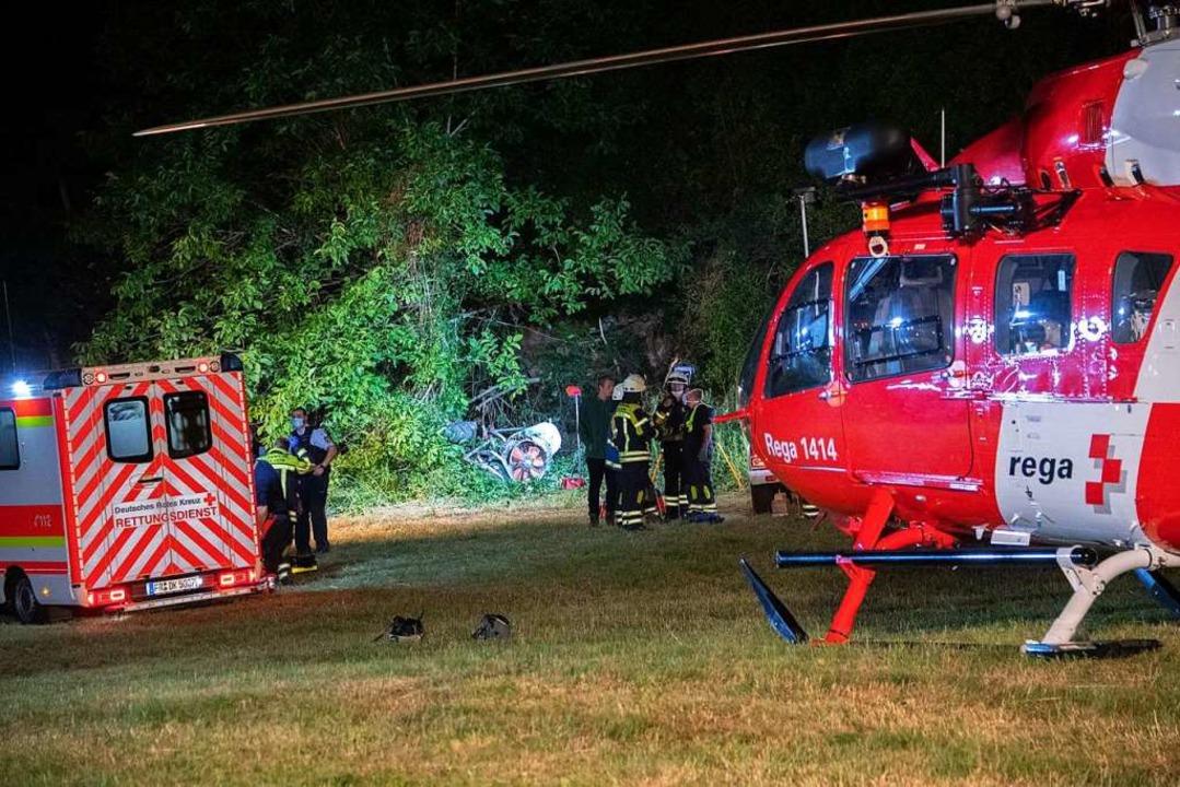 Der schwer verletzte Winzer wurde mit ...uber aus Basel in die Klinik geflogen.  | Foto: Volker Münch