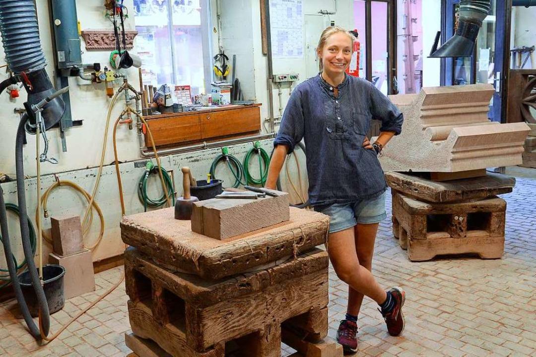 Eigentlich studiert sie Landschaftsarc... Soziales Jahr in der Münsterbauhütte.    Foto: Ingo Schneider