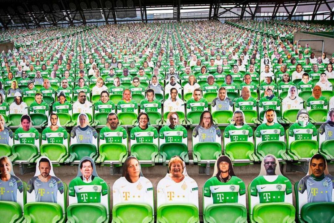 Pappkameraden: Simulierte Zuschauerkulisse in einem Budapester Stadion.  | Foto: Tibor Illyes (dpa)
