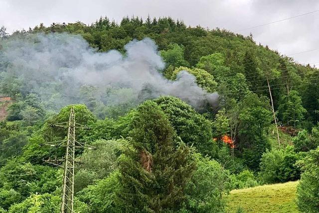 Schwieriger Feuerwehreinsatz wegen brennender Hütte im Wald