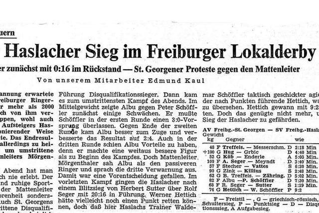 Als das Ringerderby in Freiburg fast so populär wie der Fußball war