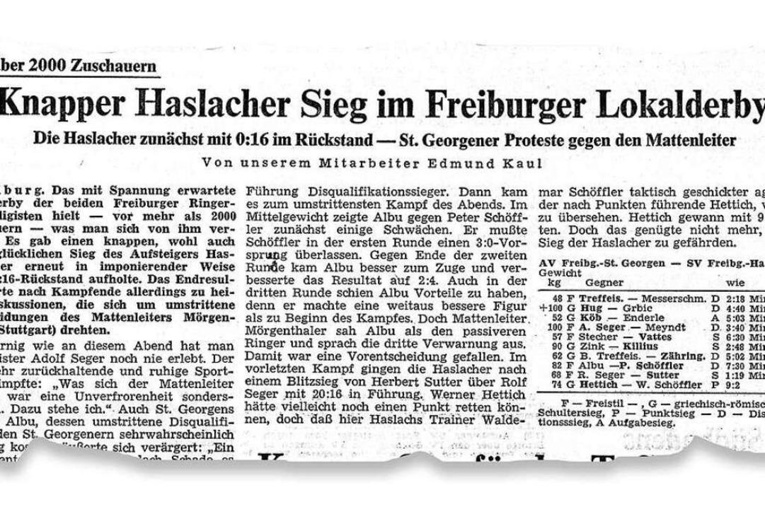 So berichtete die Badische Zeitung 197...Ringer-Derby in der ersten Bundesliga.  | Foto: bz
