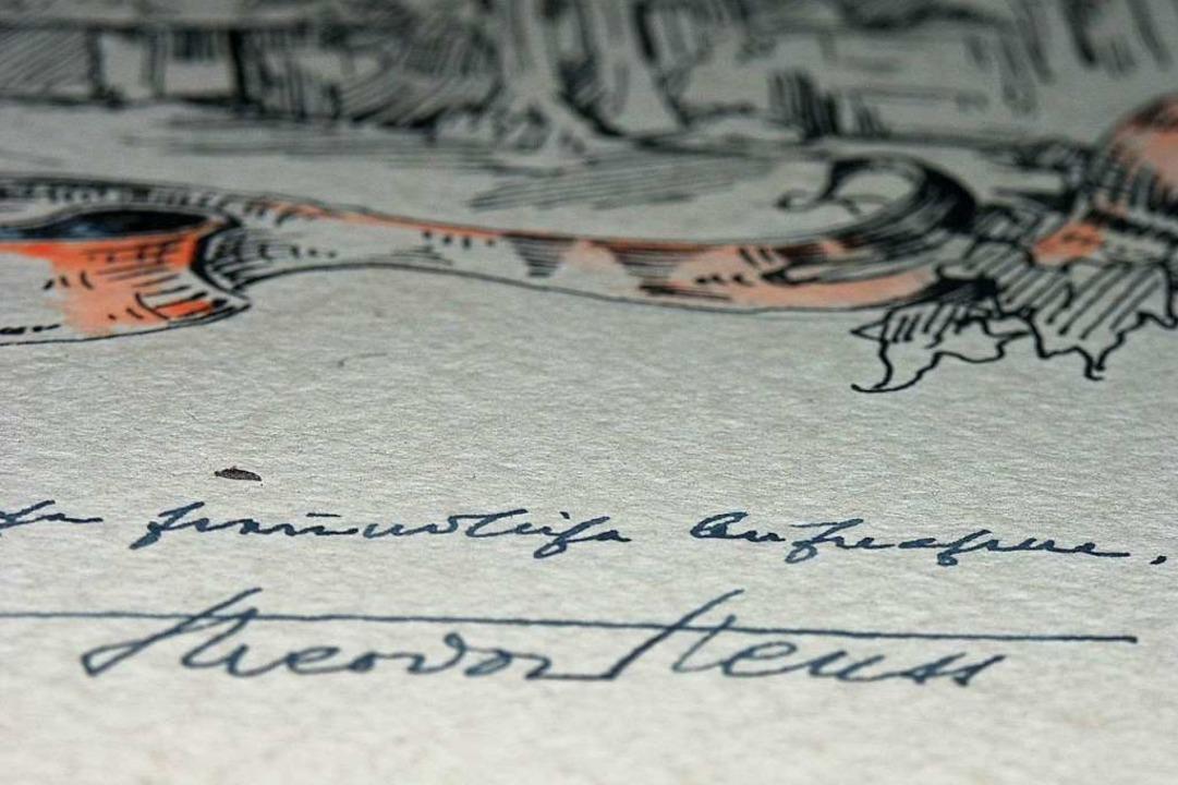 Gästebuch des Gasthauses Mättle in Tumringen mit Unterschrift von Theodor Heuss    Foto: Kathrin Ganter