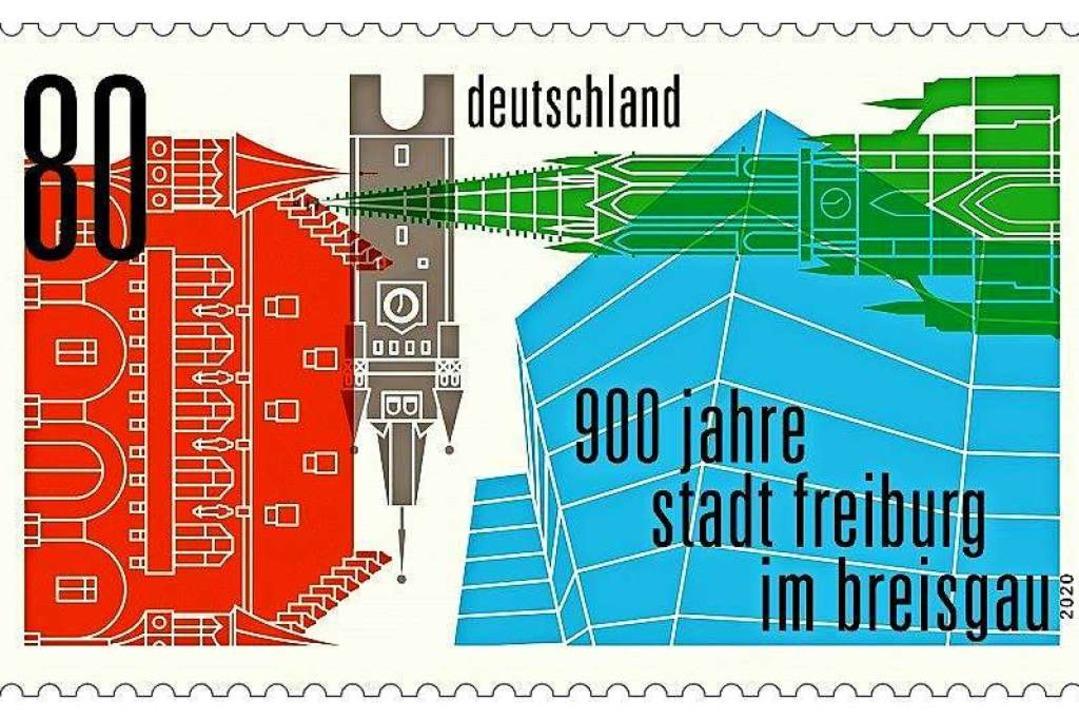 Zum Freiburger Stadtjubiläum gibt es ab Juli eine Sonderbriefmarke.  | Foto: Deutsche Post