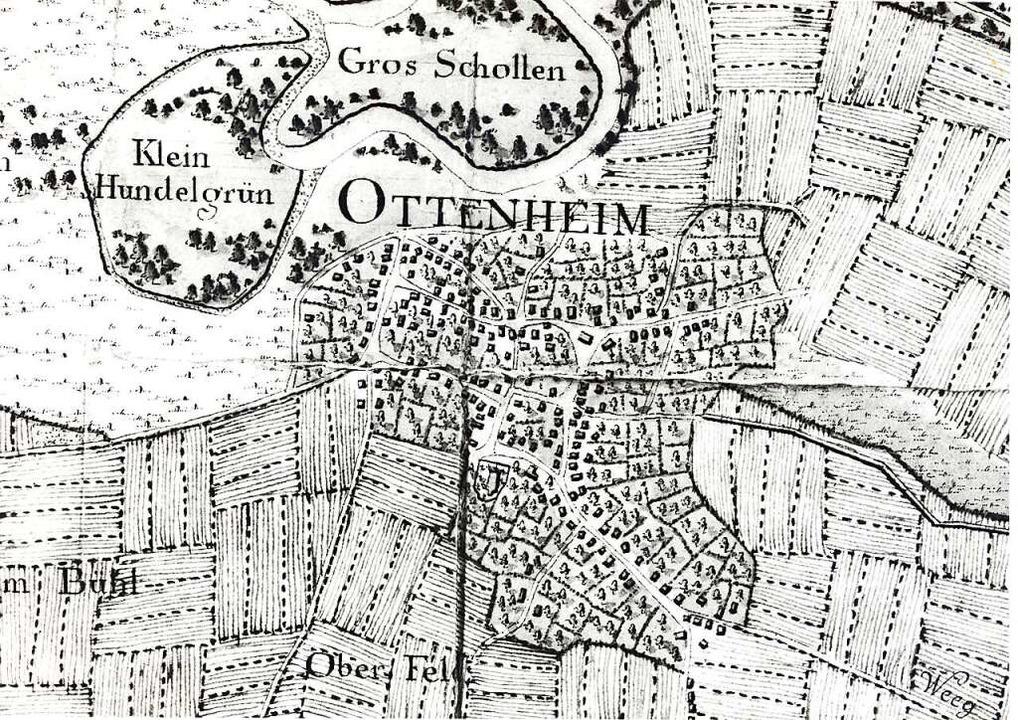 Dorfplan von 1780-1785: So sah Ottenheim früher aus...  | Foto: Martin Frenk