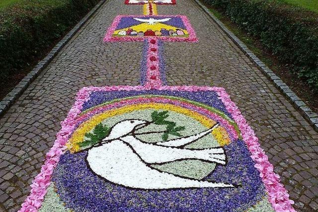 In St. Trudpert gibt es zwar keine Fronleichnamsprozession, aber Blumenteppiche