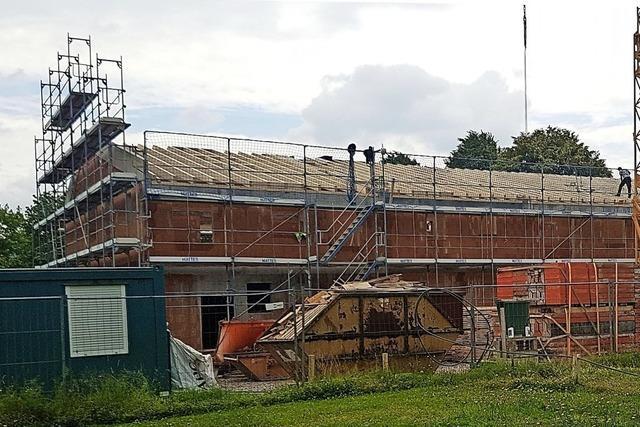 Der Dachstuhl der Kita ist errichtet