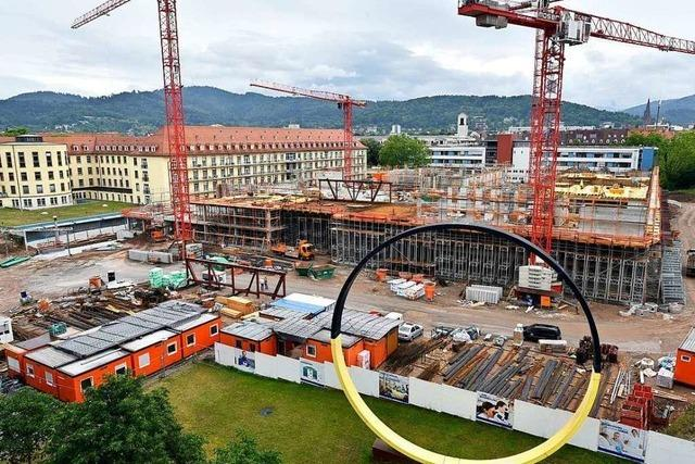 Auf der Baustelle für die neue Kinder- und Jugendklinik in Freiburg