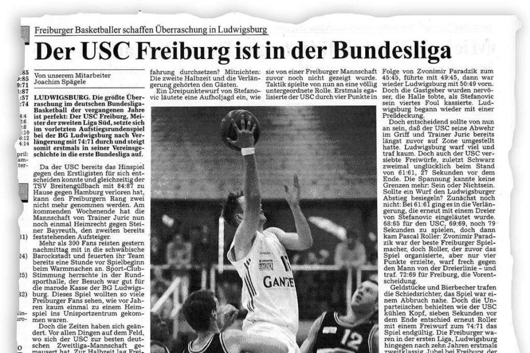 Der BZ-Zeitungsausschnitt vom 21. Apri...pieler Olaf Hollenkamp beim Korbleger.  | Foto: bz