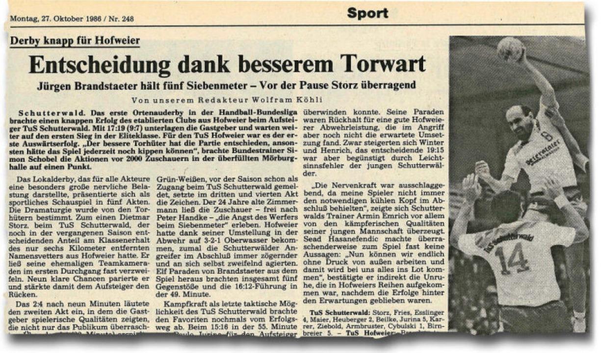 Der BZ-Ausschnitt vom 27. Oktober 1986...t dem Foto des Schutterwälders Jurina.  | Foto: bz