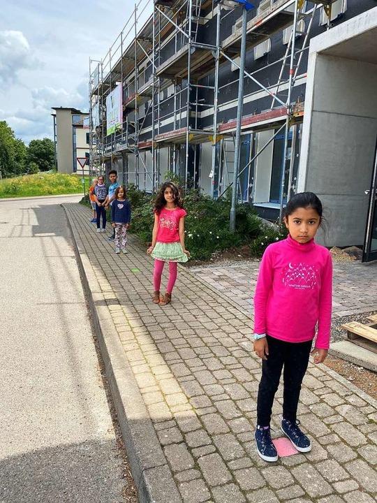 Abstand halten hieß es für die Schulkinder in Bollschweil.  | Foto: Grundschule Bollschweil
