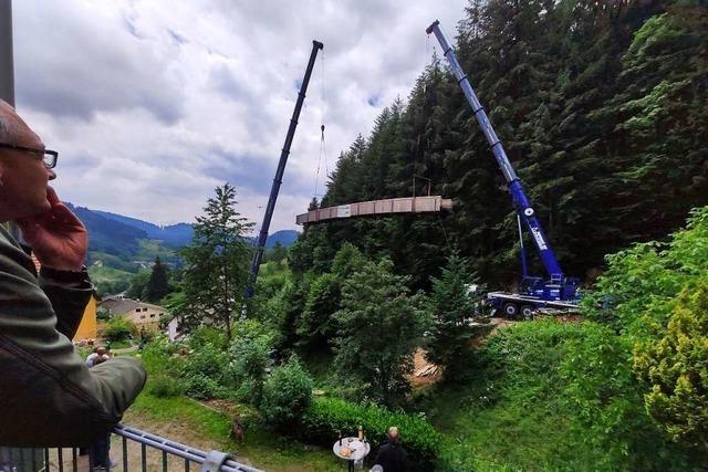 Eine 30 Meter lange Holzbrücke für den eigenen Garten