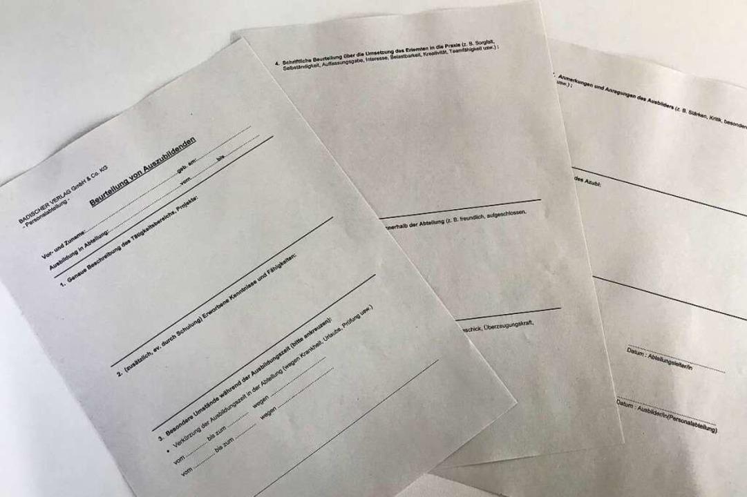 Der Beurteilungsbogen, welcher für jed...n aus den Abteilungen ausgefüllt wird.  | Foto: Angelina K.