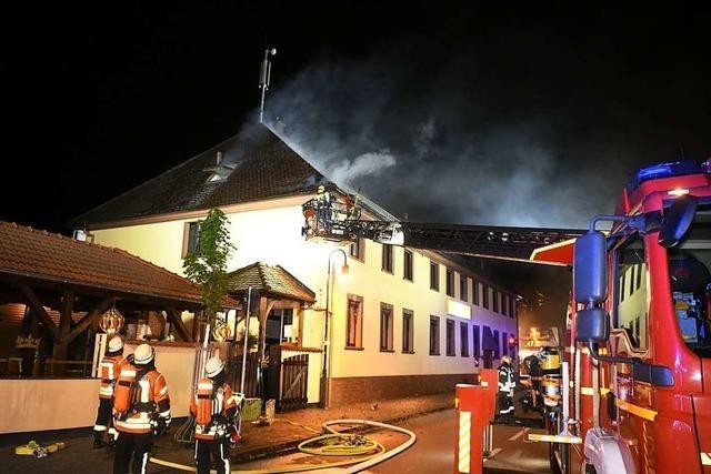 Brand im Dach des Gasthauses Krone in Friesenheim