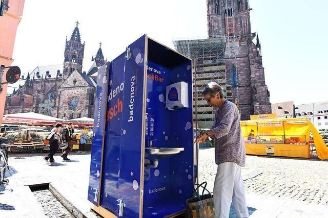 Auf dem Freiburger Münstermarkt kann man sich nun die Hände waschen