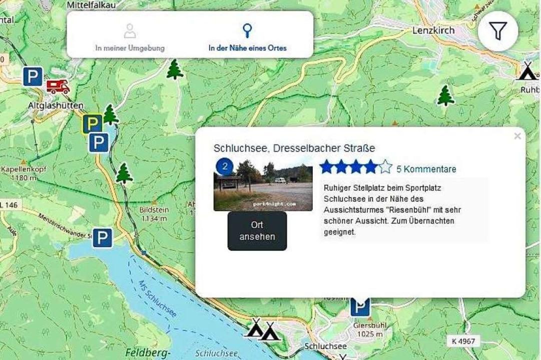 Park4Night verzeichnet Stellplätze auf...warzwald sind Stellplätze eingetragen.  | Foto: screenshot / park4night