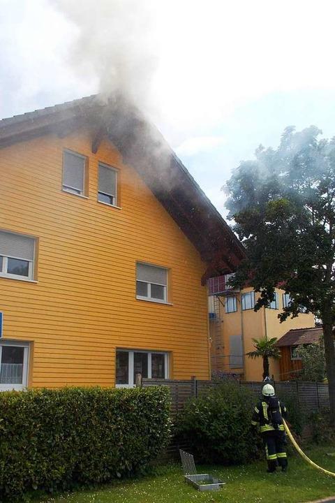 Die Wehr konnte den Brand aber zügig löschen.  | Foto: Feuerwehr Denzlingen Stephan Konrad