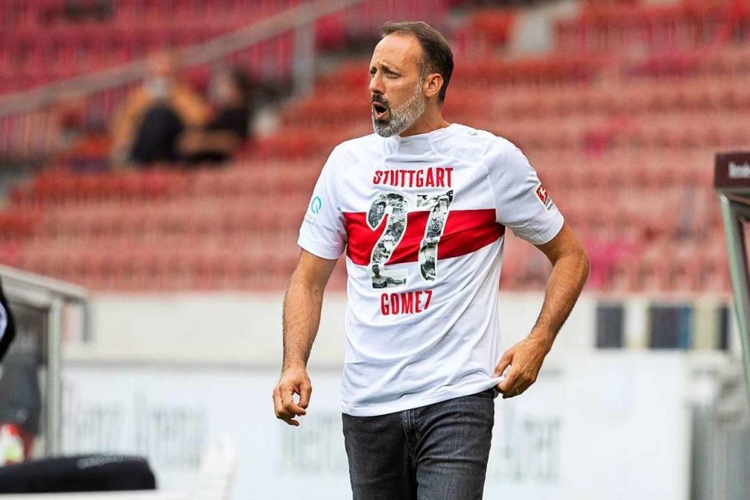 Der VfB Stuttgart und Trainer Pellegri...r Mario Gomez, der sich verabschiedet.  | Foto: Tom Weller (dpa)