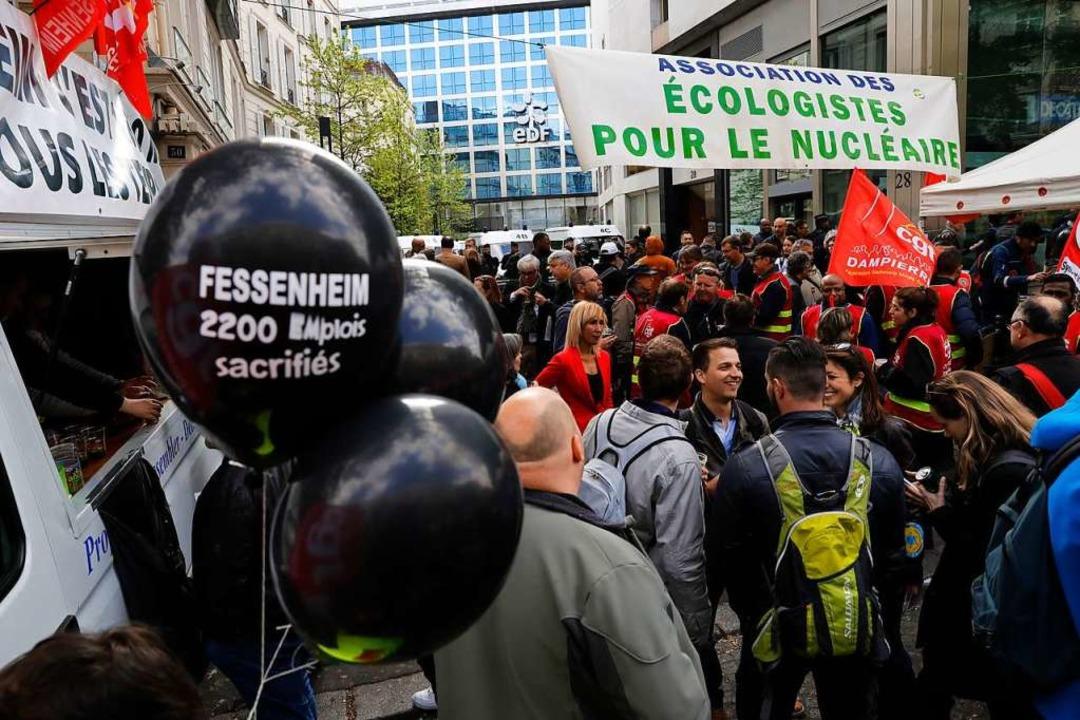Befürworter  demonstrieren im April 20...tief>2</BZ-Texttief>-Emission bremsen.  | Foto: PATRICK KOVARIK
