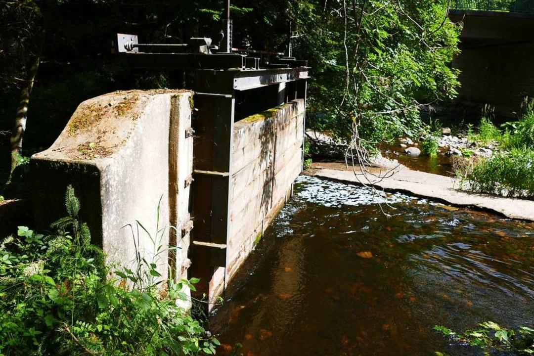 Die  Stellfalle, mit der der Wasserzulauf in den Kanal reguliert wird.     Foto: Martin Wunderle